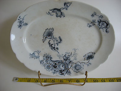 "Vintage W.H.Grindley 12""X8"" approx. Oval Platter, Marseilles, Blue White, Gold"
