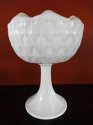 Indiana Glass Duette Pattern Milk Glass Compote