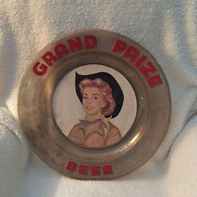Grand Prize Beer 18 inch plastic sign Cowgirl