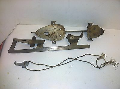 Vintage Union Hardware Co. Cast Steel pair of Ice Skates With key / wrench