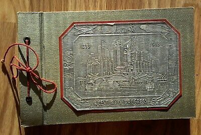 "Antique 1933 Chicago Worlds Fair embossed art deco photo album. 11x7 ""."