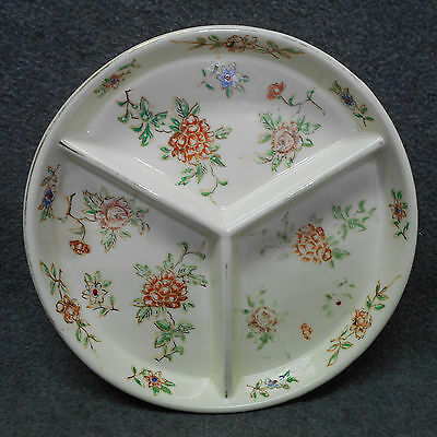 Vintage 3 Sectional Hand Painted Serving Dish Floral Pattern - Marked TT Japan