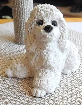 "STONE CRITTER  White Poodle Dog USA Made Figurine 2"" Vintage Made in USA"