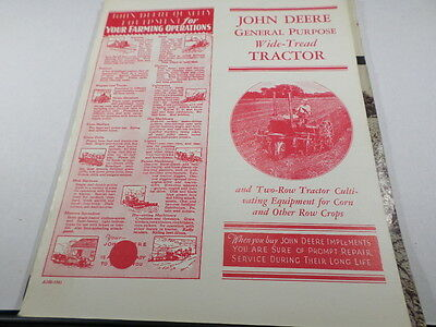John Deere General Purpose Wide Tread Tractor Brochure