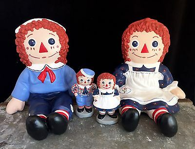 Vintage 1974 Raggedy Ann And Andy Ceramic Bookends Figurine Bobbs-Merrill Co.