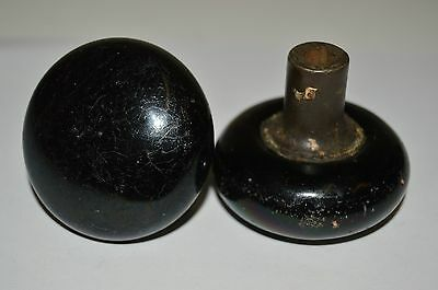 2 Nice Black Porcelain? Marble? Vintage Antique Victorian Heavy Solid Door Knobs