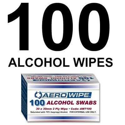 Alcohol Wipes (x 100) Medical Wipes Medi Swabs - Sterile Screen Cleaners