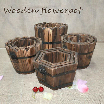 Outdoor Natural Wooden Planter Flower Plant Gardening Decor Flower Pot Barrel