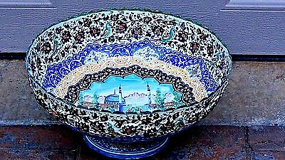 Antique Persian Islamic Large Enameled Hand Painted Over Copper Mosque Bowl Dish