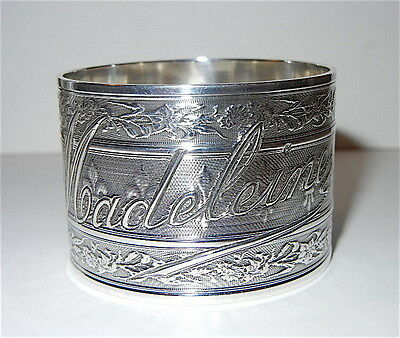 Antique French Alphonse Debain Sterling Silver Napkin Ring Fleur De Lis Madeline