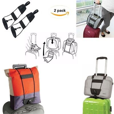 2pcs Add A Bag Strap Luggage Suitcase Adjustable Belt Carry On Bungee Travel US
