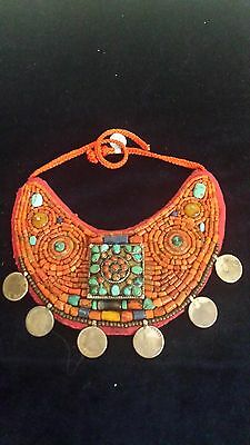 Tibetan Necklace 19th century rare antique. Natural  Coral and Turquoise.