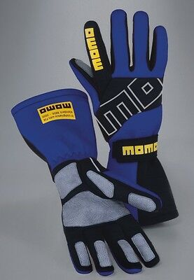 Momo Corse Race Kart Rally Gloves - Pro Racer Short Blue - Small (Size 8)