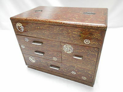 Vintage Kiri Wood Sewing Box with Decals Japanese Drawers Circa 1950s #658