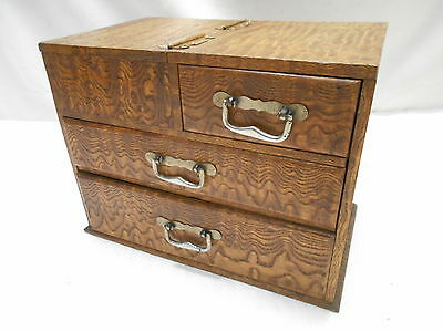 Antique Keyaki and Kiri Wood Sewing Box Japanese Drawers Circa 1920s #660