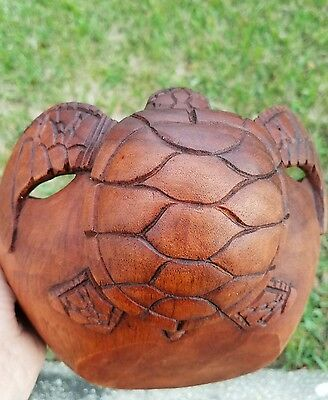 Gorgeous Intricate Large Handcarved Mahogany Turtle Bowl Home Decor Art!