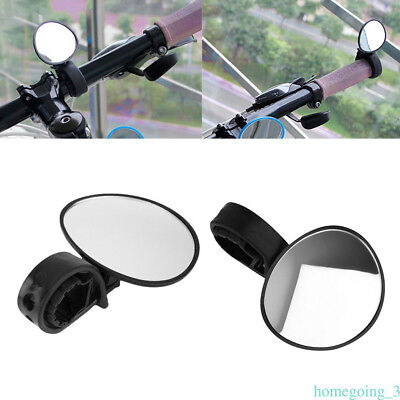 Cycling Bicycle Bike Adjustable Rear View Mirror Handlebar Rotation Safety Black