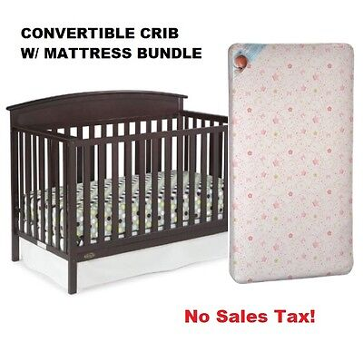 Convertible Crib w/ Mattress Bundle 5 in 1 Kids Toddler Bed Daybed Full Size New