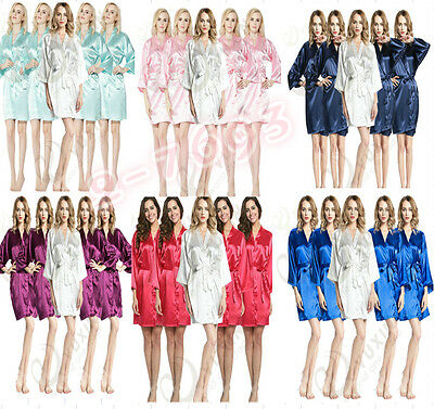 Set of 5pcs Solid plain satin robe Bridesmaid robes gowns bride wedding robes AU