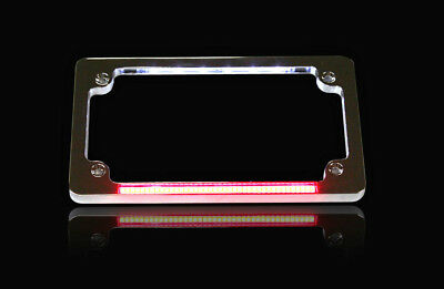 Custom Dynamics Number Plate Frame Flat Chrome w/ LED Red Brake Light