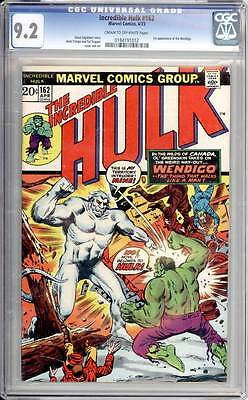 Incredible Hulk # 162  First appearance of the Wendigo !  CGC 9.2 scarce book !
