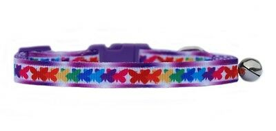 "Red pink green blue ""BUTTERFLIES    ""  safety kitten cat collar  3 sizes"