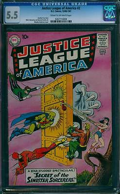 Justice League of America # 2  Secret of the Sorcerers !  CGC 5.5 scarce book !