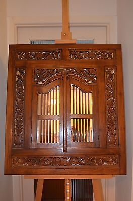 Antique Large Carved Wooden Shutter Mirror - wall hanging