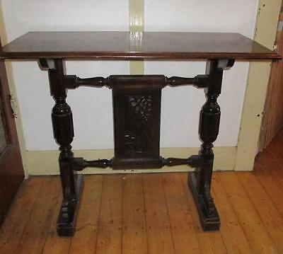 Antique Art Nouveau Silky Oak Timber Hall / Dining Table/Desk Carved Features