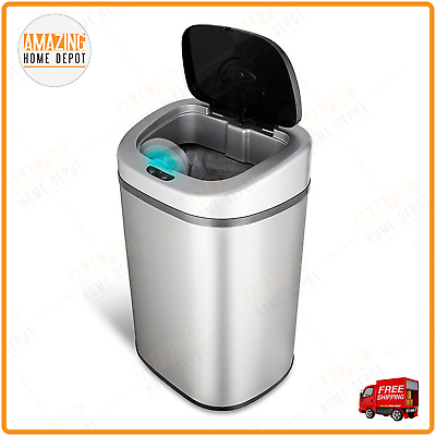 Kitchen 21 Gallon Touchless Sensor Stainless Steel Trash Can, Lid Garbage Bin