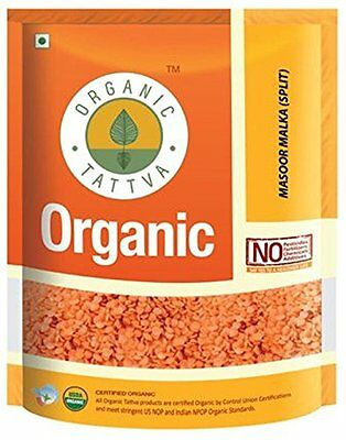 Organic Tattva Red Split Lentils Masoor Malka Whole, 500g USDA Certified