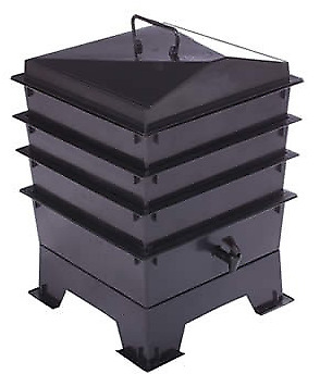 Black STANDARD PET & DOG POO WORMERY, 3 x Stacking Trays, Compost Bin, Composter