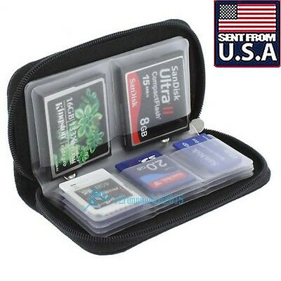 CF Micro SD SDHC MMC XD Memory Card Holder Storage Carry Pouch Wallet Case Black