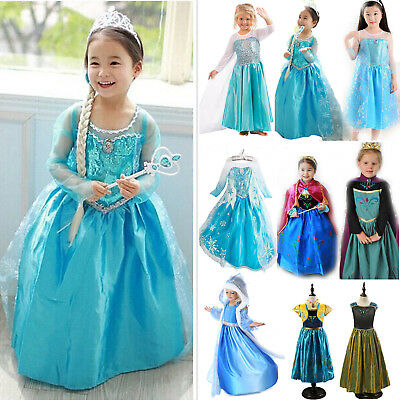 Girl Frozen Princess Queen Elsa Anna Cosplay Costume Party Fancy Dress 3-8 Years