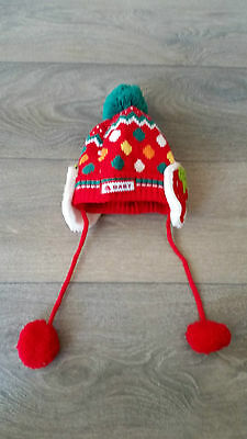 NEW W/O TAG Baby Toddler Girl Winter Beanie Red RRP$39.95 Size 6 mth - 1 year