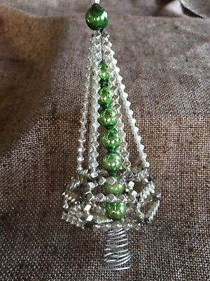 Antique Vintage Czech Handcrafted Green, Silver Mercury Glass Beaded Tree Topper
