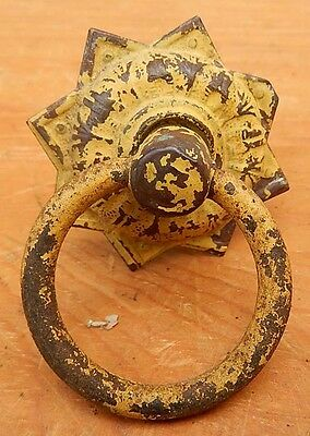 Antique 19th Century Yellow Worn Paint Brass Single Drawer Pull with Iron Ring