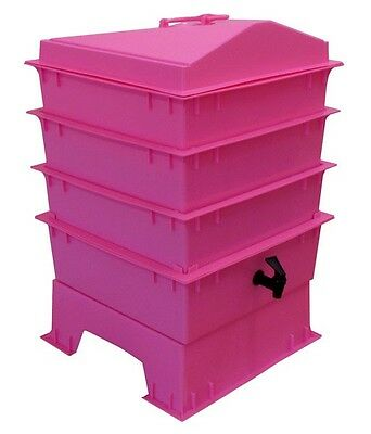 Pink STANDARD PET & DOG POO WORMERY, 4 x Stacking Trays, Compost Bin, Composter