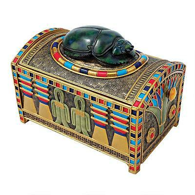 Hidden Treasure Compartment Egyptian Scarab Beetle Trinket Box w Lid & Drawer