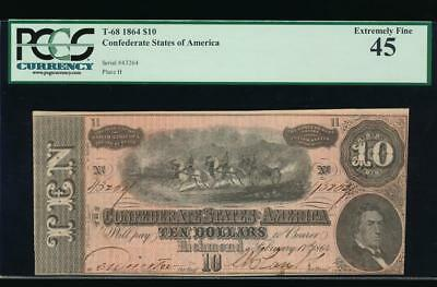 AC T-68 $10 1864 Confederate Currency CSA PCGS 45