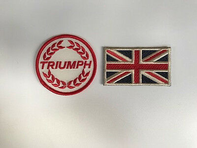 "Broderie "" Triumph "" Rouge & Union Jack Ecusson Badge"