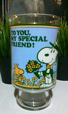 "Peanuts Collectible Glass 7"" Tall Snoopy Woodstock ""To You My Special Friend"""