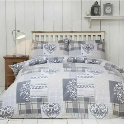 Alpine Patchwork Natural Brushed Cotton Festive Christmas Hearts Xmas Bedding