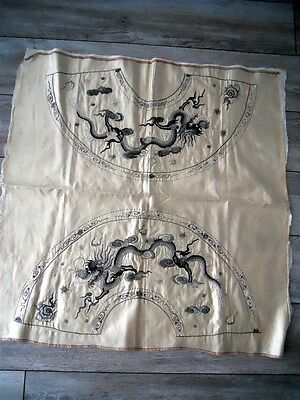 Chinese embroidery dragons for fans or frame 19th-century