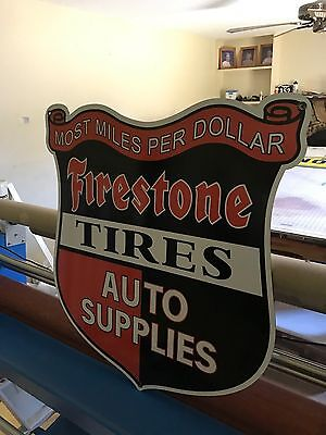 "Firestone Crest Sign 30"" Vintage Porcelain Look Auto Gas Oil Advertising Sign"