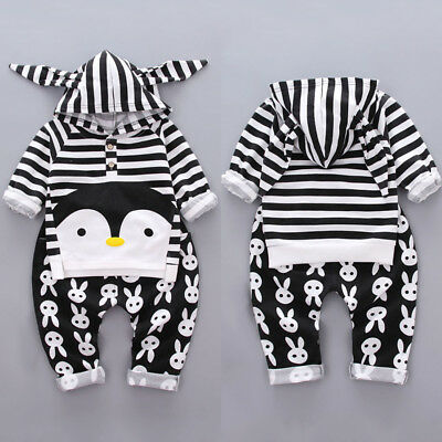 Newborn Kid Baby Boy Girl Infant Striped Penguin Clothes 2pcs Outfits Tops+Pants