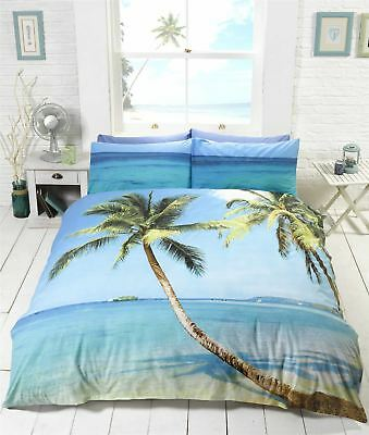 Beach Scene Tropical Island Palm Tree Bedding Duvet Cover Single Double King