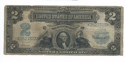 1899 United States $2 Silver Certificate Note; Two Silver Dollars