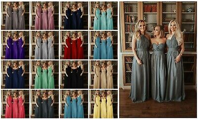 Multi Way Long Chiffon Bridesmaid Dress Prom Gown Infinity Maxi Ballgown Uk