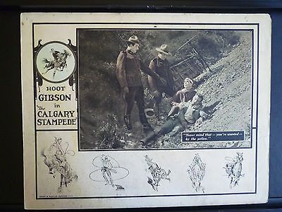 1925 The Calgary Stampede - Hoot Gibson Silent Western - Rare Vintage Lobby Card